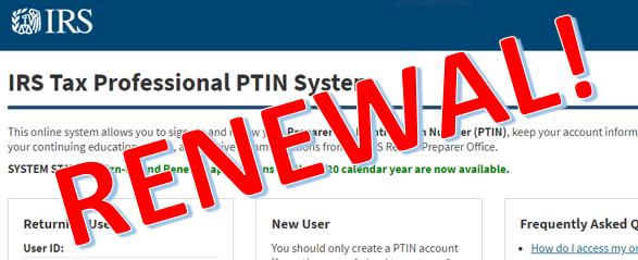 2021 Tax Season PTIN Registration – OPEN