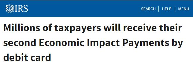Economic Impact Payments – Debit Cards